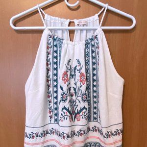White Embroidered Floral Tank Top -XL